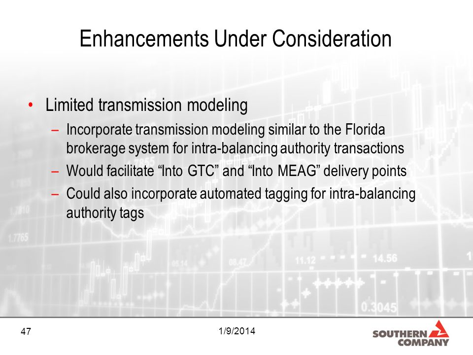 47 1/9/2014 Enhancements Under Consideration Limited transmission modeling –Incorporate transmission modeling similar to the Florida brokerage system