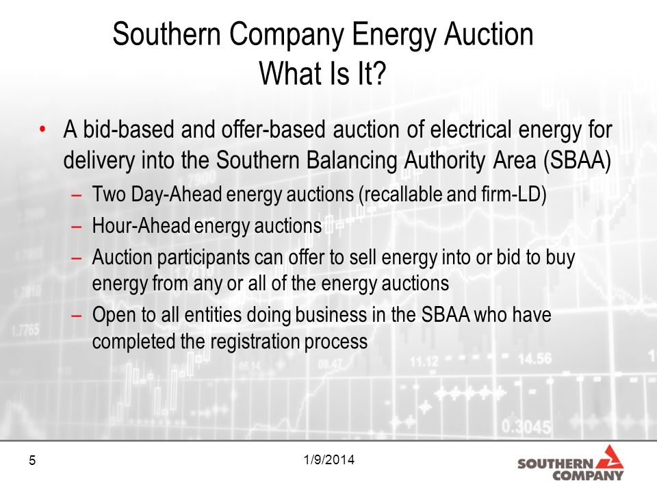 5 1/9/2014 Southern Company Energy Auction What Is It? A bid-based and offer-based auction of electrical energy for delivery into the Southern Balanci