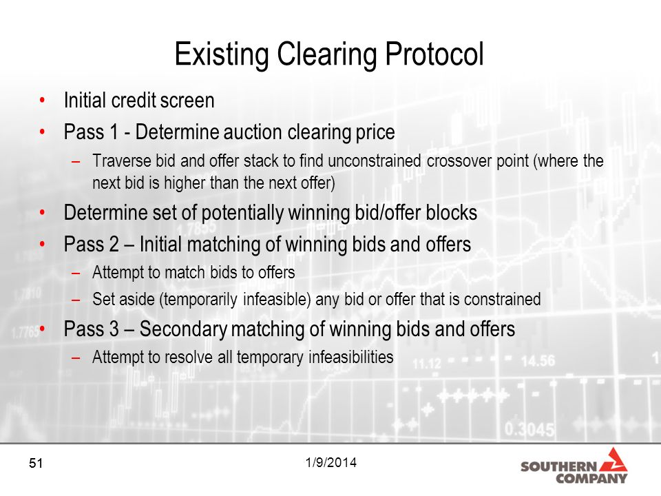 51 1/9/2014 Existing Clearing Protocol Initial credit screen Pass 1 - Determine auction clearing price –Traverse bid and offer stack to find unconstrained crossover point (where the next bid is higher than the next offer) Determine set of potentially winning bid/offer blocks Pass 2 – Initial matching of winning bids and offers –Attempt to match bids to offers –Set aside (temporarily infeasible) any bid or offer that is constrained Pass 3 – Secondary matching of winning bids and offers –Attempt to resolve all temporary infeasibilities 51