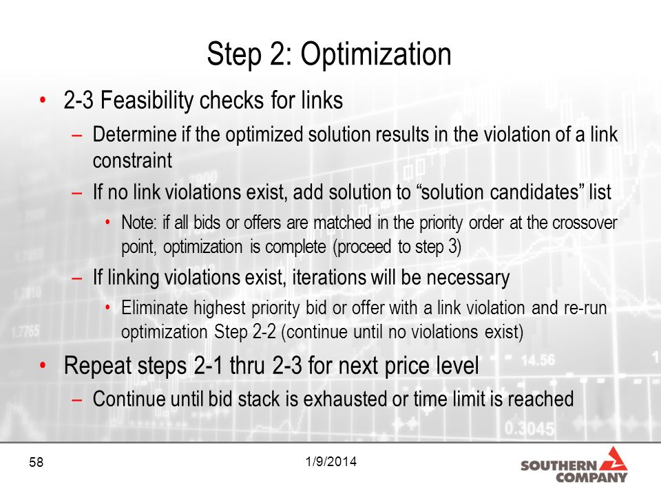 58 1/9/2014 Step 2: Optimization 2-3 Feasibility checks for links –Determine if the optimized solution results in the violation of a link constraint –