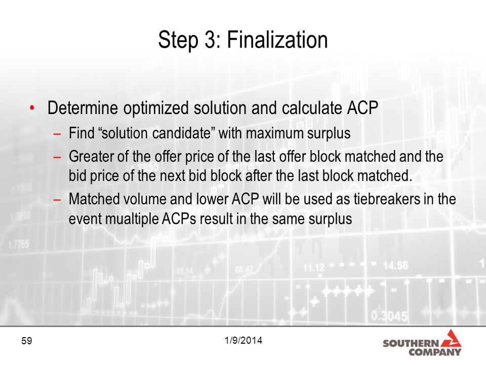 59 1/9/2014 Step 3: Finalization Determine optimized solution and calculate ACP –Find solution candidate with maximum surplus –Greater of the offer pr