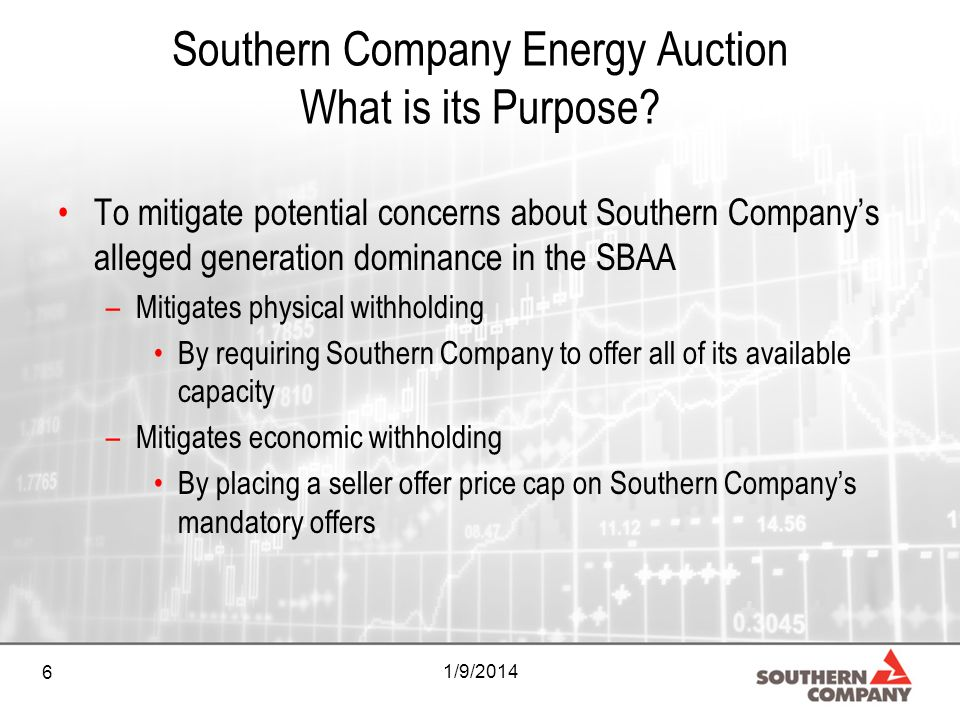 6 1/9/2014 Southern Company Energy Auction What is its Purpose? To mitigate potential concerns about Southern Companys alleged generation dominance in