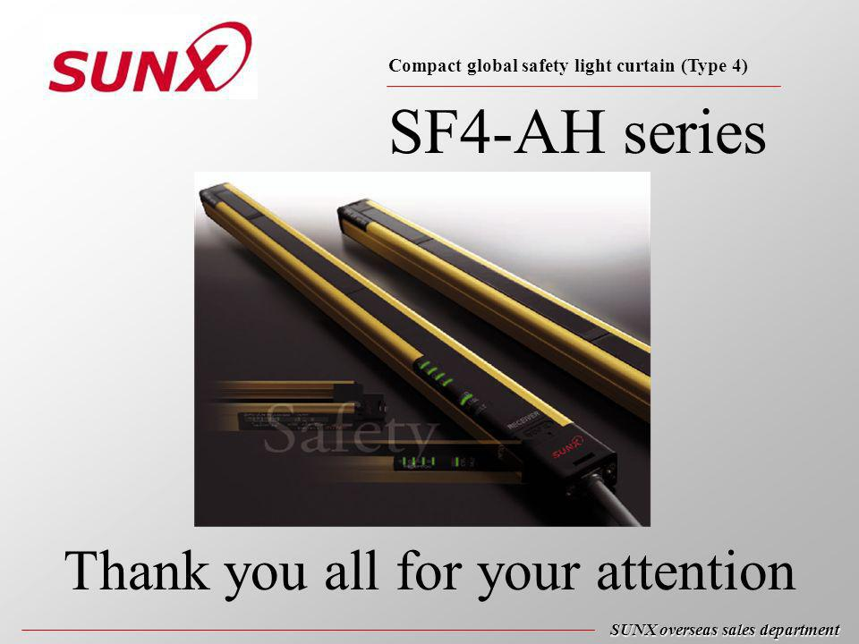 SF4-AH series SUNX overseas sales department Thank you all for your attention Compact global safety light curtain (Type 4)