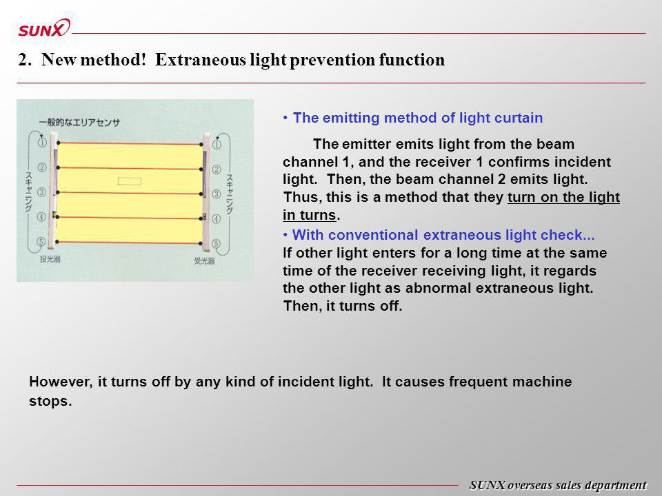 SUNX overseas sales department 2. New method! Extraneous light prevention function The emitting method of light curtain The emitter emits light from t