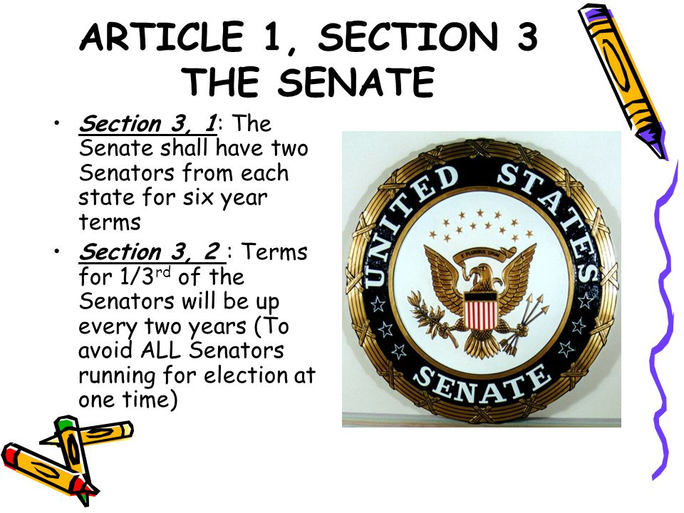 ARTICLE 1, SECTION 3 THE SENATE Section 3, 1: The Senate shall have two Senators from each state for six year terms Section 3, 2 : Terms for 1/3 rd of
