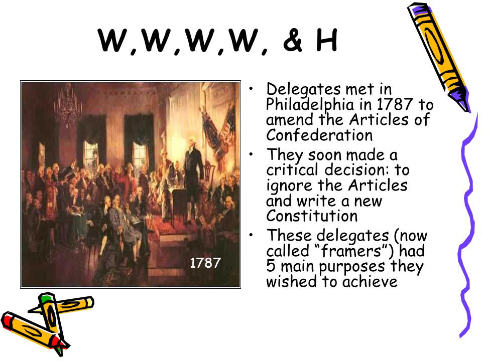 W,W,W,W, & H Delegates met in Philadelphia in 1787 to amend the Articles of Confederation They soon made a critical decision: to ignore the Articles a