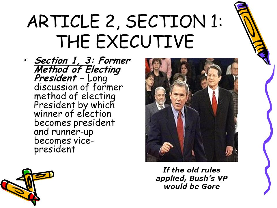 ARTICLE 2, SECTION 1: THE EXECUTIVE Section 1, 3: Former Method of Electing President – Long discussion of former method of electing President by whic