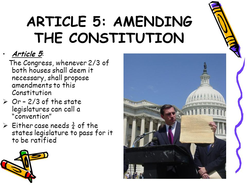 ARTICLE 5: AMENDING THE CONSTITUTION Article 5: The Congress, whenever 2/3 of both houses shall deem it necessary, shall propose amendments to this Co