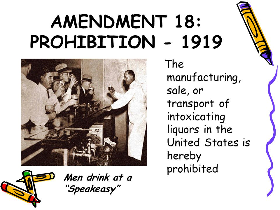 AMENDMENT 18: PROHIBITION - 1919 The manufacturing, sale, or transport of intoxicating liquors in the United States is hereby prohibited Men drink at