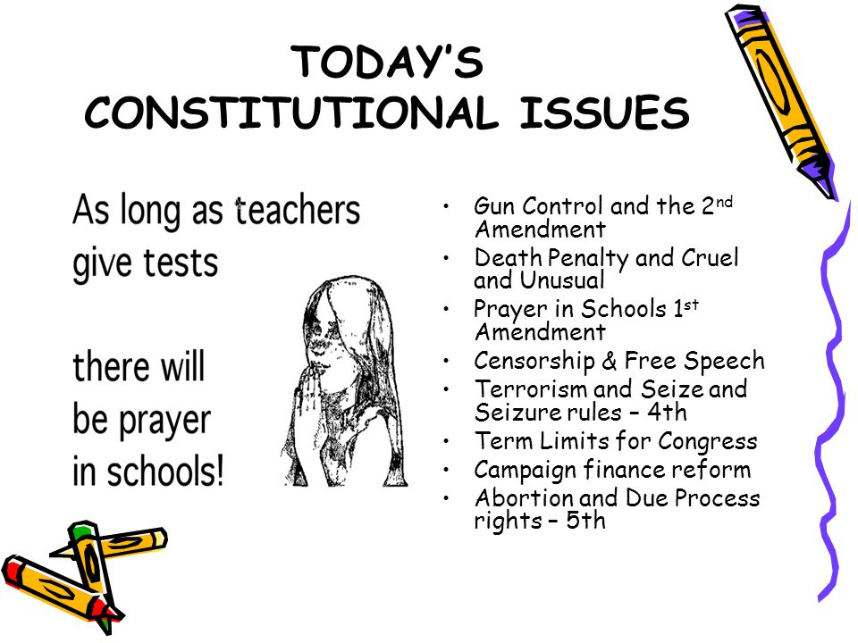 TODAYS CONSTITUTIONAL ISSUES Gun Control and the 2 nd Amendment Death Penalty and Cruel and Unusual Prayer in Schools 1 st Amendment Censorship & Free