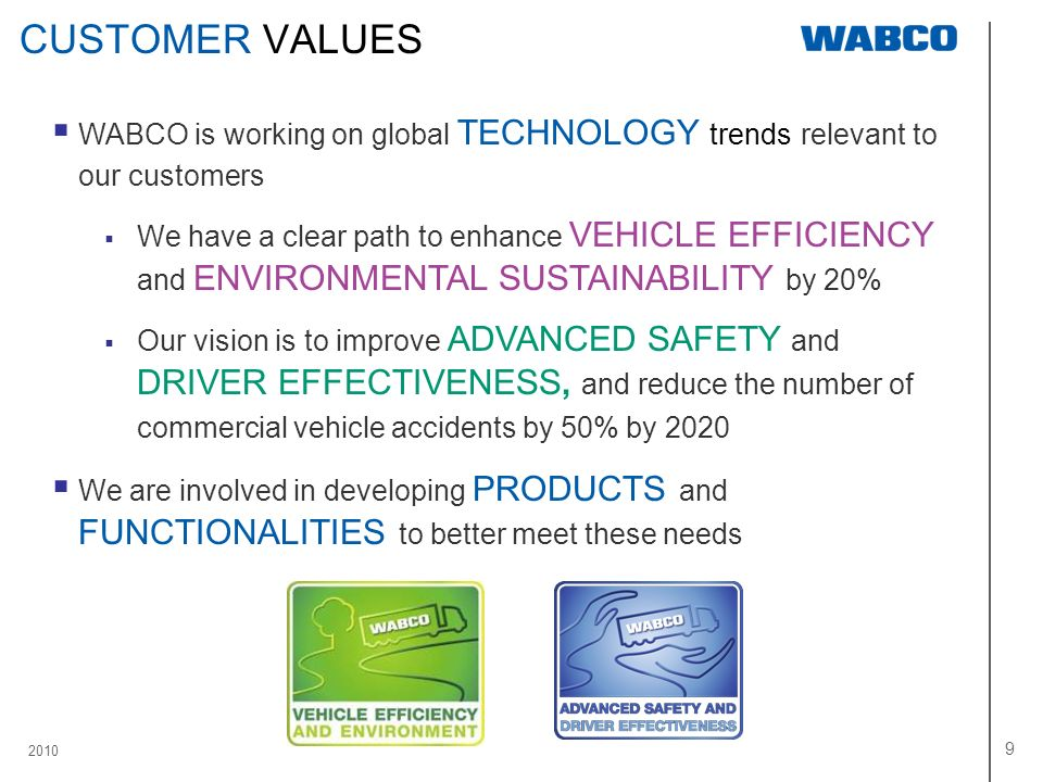 2010 9 CUSTOMER VALUES WABCO is working on global TECHNOLOGY trends relevant to our customers We have a clear path to enhance VEHICLE EFFICIENCY and E