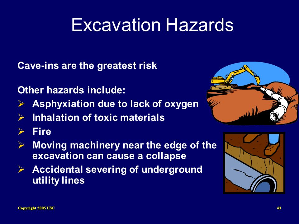 Copyright 2005 USC43 Excavation Hazards Cave-ins are the greatest risk Other hazards include: Asphyxiation due to lack of oxygen Inhalation of toxic m