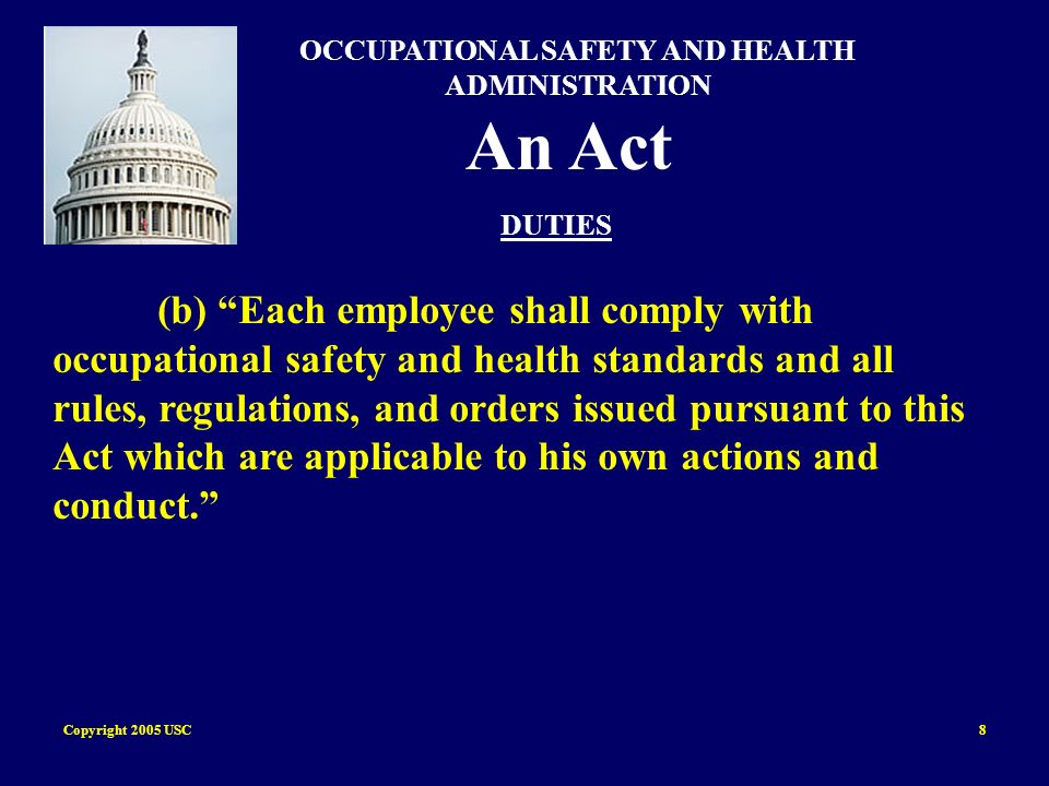 Copyright 2005 USC59 Injuries Lifting objects is a major cause of back injuries in the work place Improper storing and handling of material and equipment can cause struck by and crushed by injuries