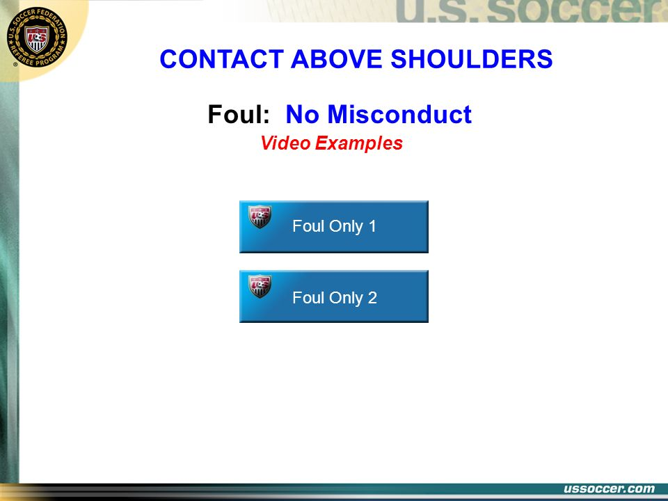 Foul: No Misconduct Foul Only 1 Foul Only 2 Video Examples CONTACT ABOVE SHOULDERS