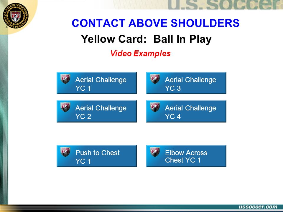 CONTACT ABOVE SHOULDERS Yellow Card: Ball In Play Elbow Across Chest YC 1 Aerial Challenge YC 1 Aerial Challenge YC 2 Aerial Challenge YC 3 Aerial Cha