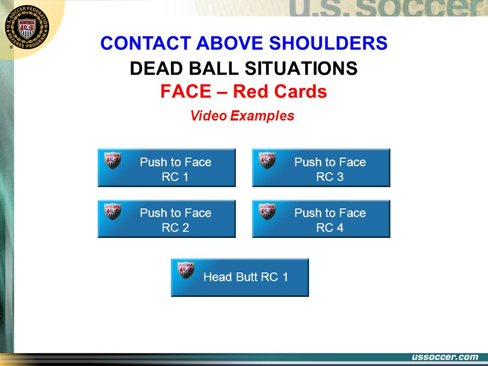 DEAD BALL SITUATIONS FACE – Red Cards Push to Face RC 1 Push to Face RC 2 Head Butt RC 1 Push to Face RC 3 Push to Face RC 4 Video Examples CONTACT AB