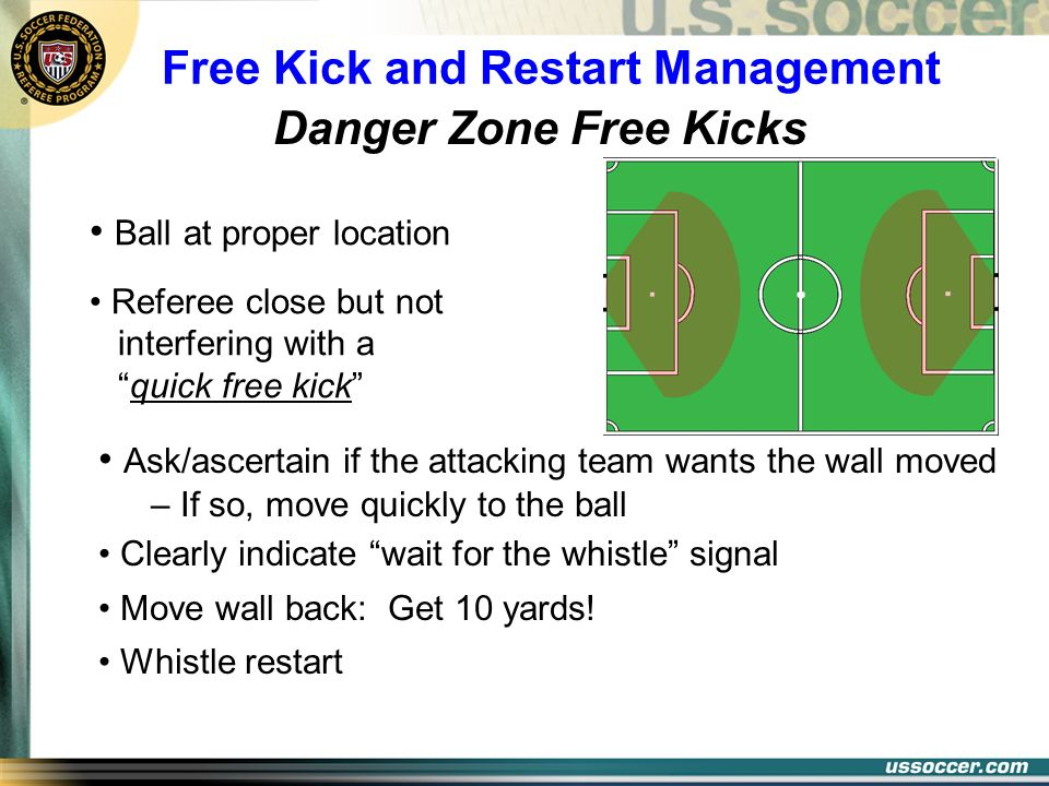 Free Kick and Restart Management Danger Zone Free Kicks Ball at proper location Referee close but not interfering with a quick free kick Ask/ascertain