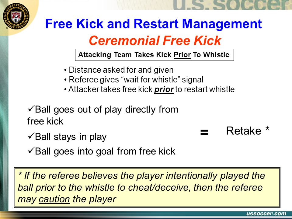 Ceremonial Free Kick Free Kick and Restart Management Attacking Team Takes Kick Prior To Whistle Distance asked for and given Referee gives wait for w
