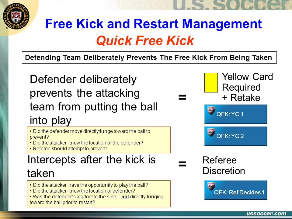 Quick Free Kick Free Kick and Restart Management Defending Team Deliberately Prevents The Free Kick From Being Taken Did the defender move directly/lu