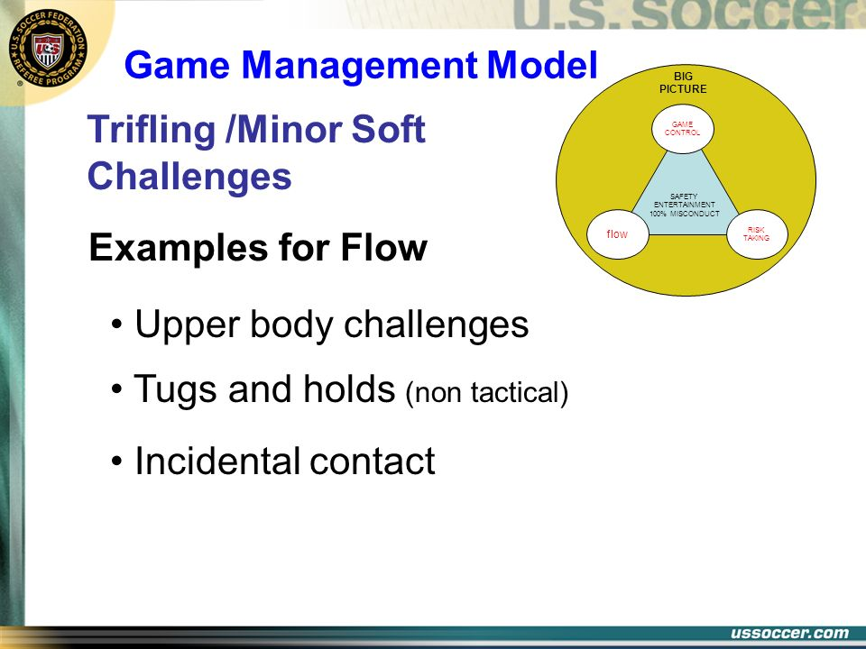 SAFETY ENTERTAINMENT 100% MISCONDUCT BIG PICTURE GAME CONTROL RISK TAKING flow Examples for Flow Upper body challenges Trifling /Minor Soft Challenges