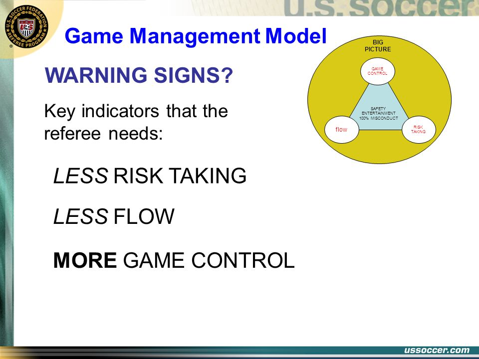 LESS FLOW SAFETY ENTERTAINMENT 100% MISCONDUCT BIG PICTURE GAME CONTROL RISK TAKING flow LESS RISK TAKING MORE GAME CONTROL WARNING SIGNS? Key indicat