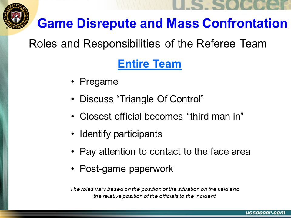 Game Disrepute and Mass Confrontation Pregame Discuss Triangle Of Control Closest official becomes third man in Identify participants Pay attention to