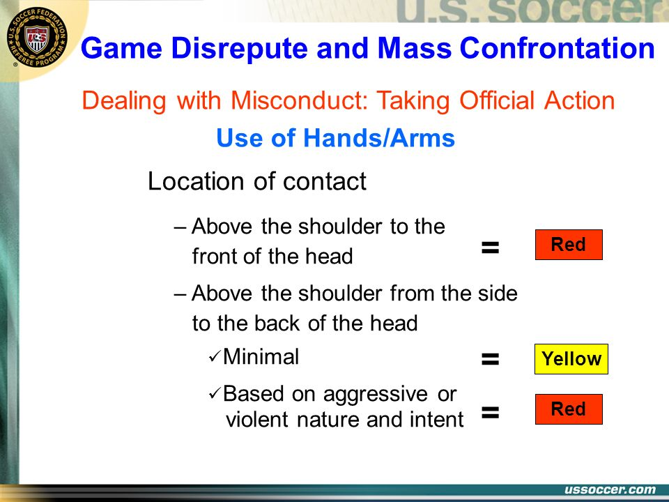 Game Disrepute and Mass Confrontation Dealing with Misconduct: Taking Official Action Location of contact – Above the shoulder to the front of the hea
