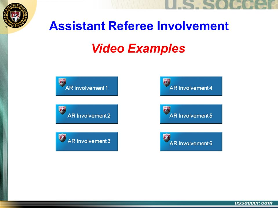 Video Examples AR Involvement 1 Assistant Referee Involvement AR Involvement 2 AR Involvement 3 AR Involvement 4AR Involvement 5AR Involvement 6