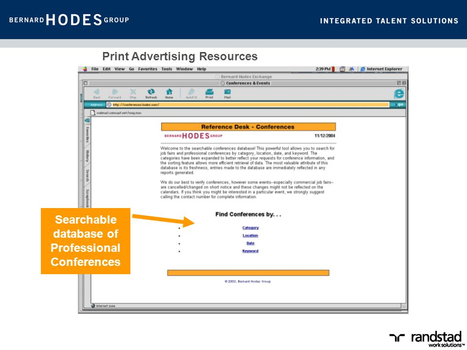 Print Advertising Resources Searchable database of Professional Conferences