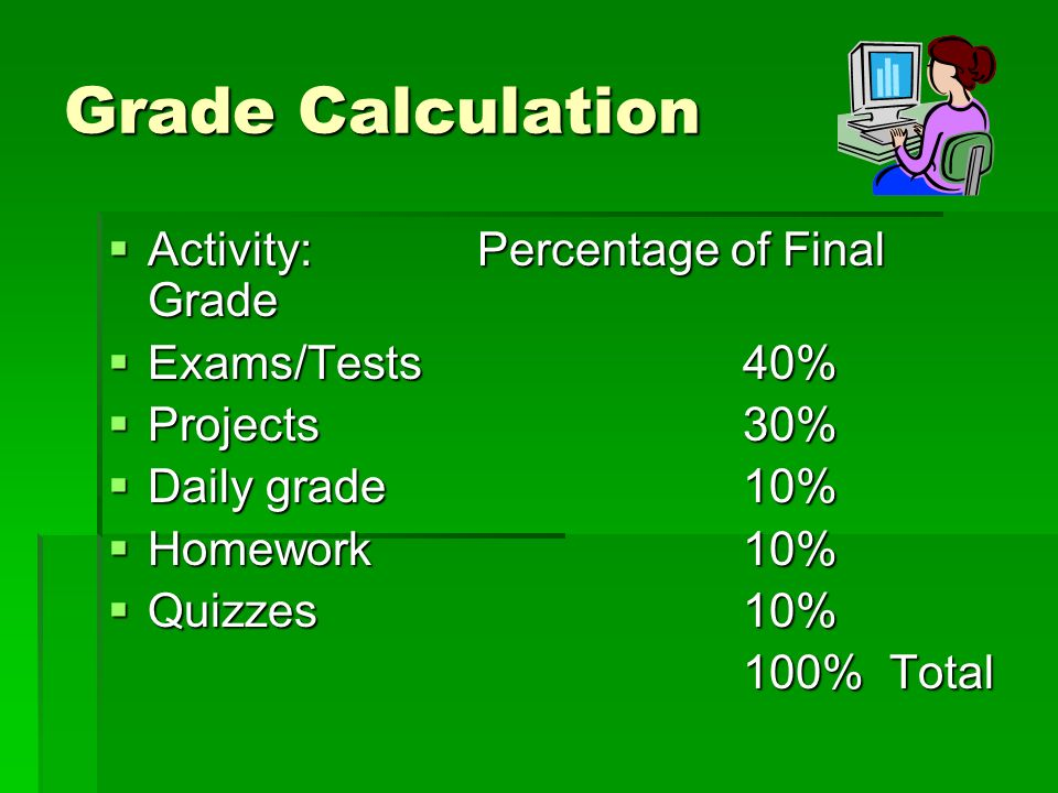 Grade Calculation Activity: Percentage of Final Grade Activity: Percentage of Final Grade Exams/Tests40% Exams/Tests40% Projects30% Projects30% Daily grade10% Daily grade10% Homework10% Homework10% Quizzes10% Quizzes10% 100% Total