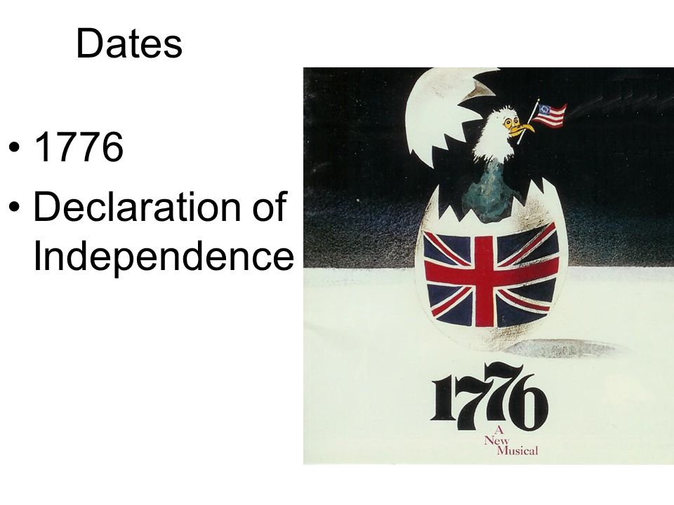Dates 1776 Declaration of Independence