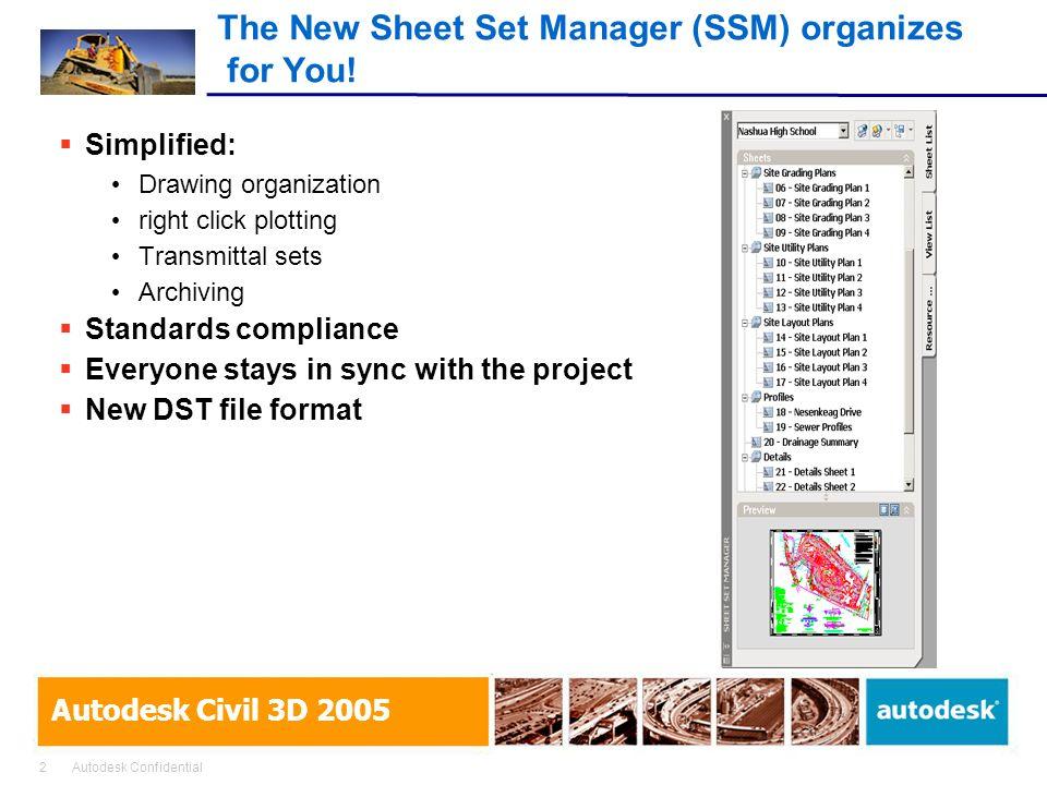 2Autodesk Confidential Autodesk Civil 3D 2005 The New Sheet Set Manager (SSM) organizes for You.