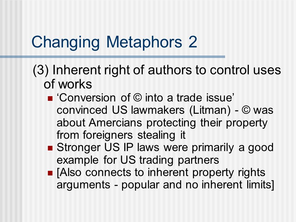 Other digital agendas Litman See Reading GuideReading Guide no non-commercial infringement Lessig See Lessig The Internet Under Siege (2001)The Internet Under Siege See Reading GuideReading Guide Limited terms, limited protections, fair use Drahos See Resisting the new inequality (Ch 13) Reformulating the public domain See Wk 5 on creating/proecting digital commons