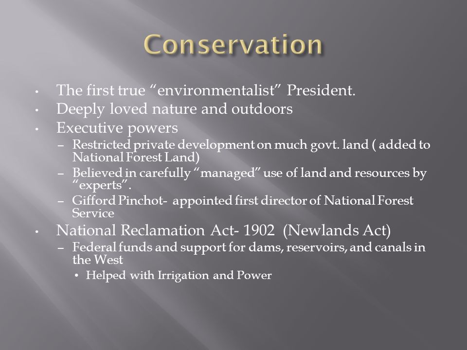 The first true environmentalist President.