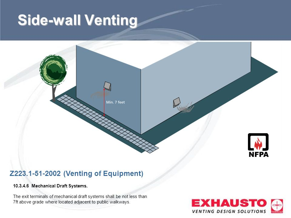Sub Title Side-wall Venting Z223.1-51-2002 (Venting of Equipment) 10.3.4.6 Mechanical Draft Systems. The exit terminals of mechanical draft systems sh