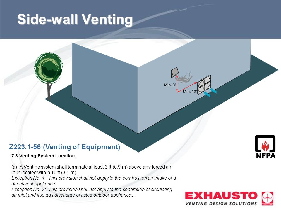 Sub Title Side-wall Venting Z223.1-56 (Venting of Equipment) 7.8 Venting System Location. (a) A Venting system shall terminate at least 3 ft (0.9 m) a