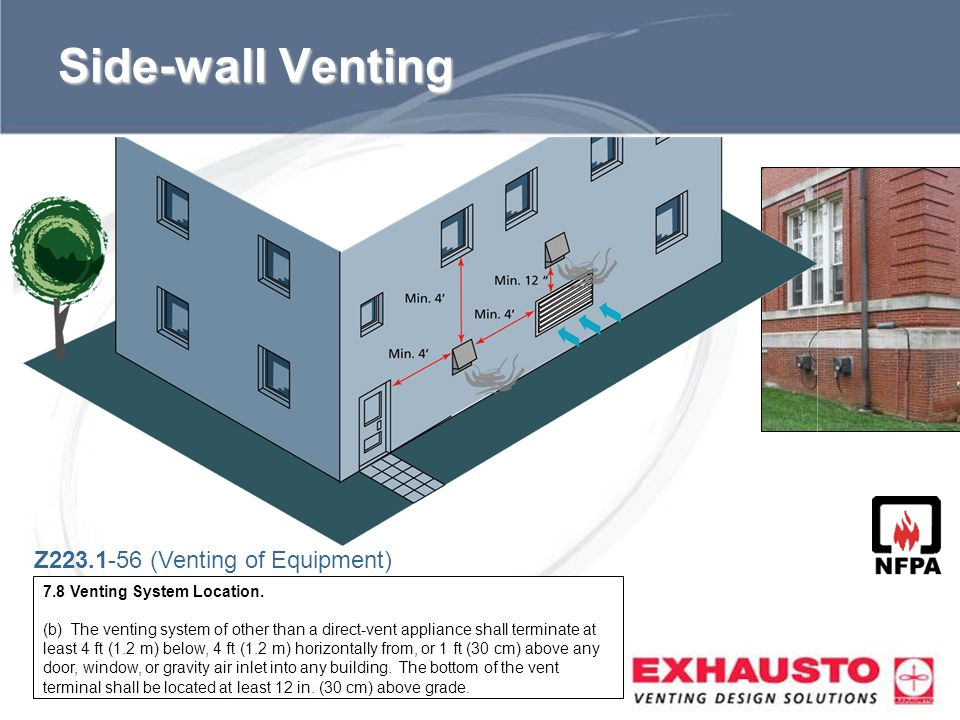Sub Title Side-wall Venting Z223.1-56 (Venting of Equipment) 7.8 Venting System Location. (b) The venting system of other than a direct-vent appliance