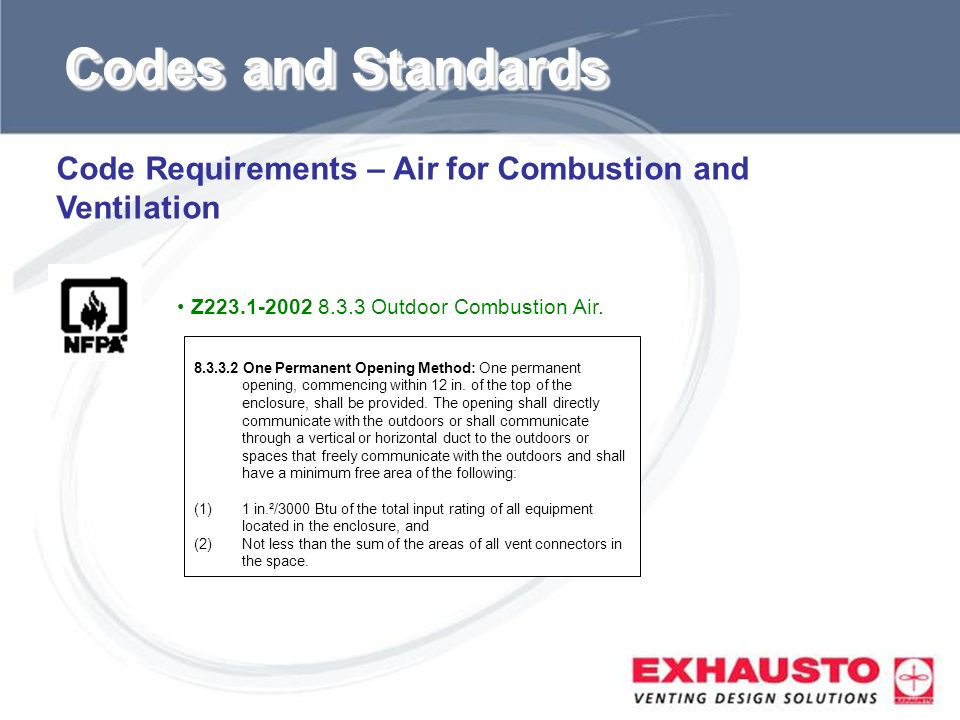 Sub Title Code Requirements – Air for Combustion and Ventilation 8.3.3.2 One Permanent Opening Method: One permanent opening, commencing within 12 in.
