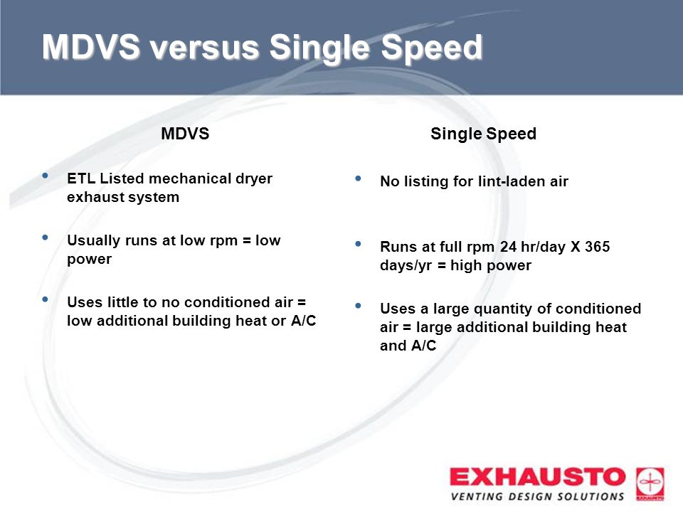 Sub Title MDVS versus Single Speed MDVS ETL Listed mechanical dryer exhaust system Usually runs at low rpm = low power Uses little to no conditioned a
