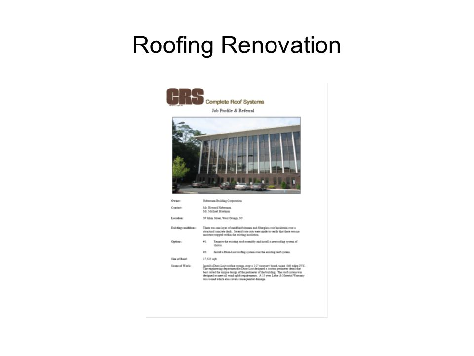 Roofing Renovation