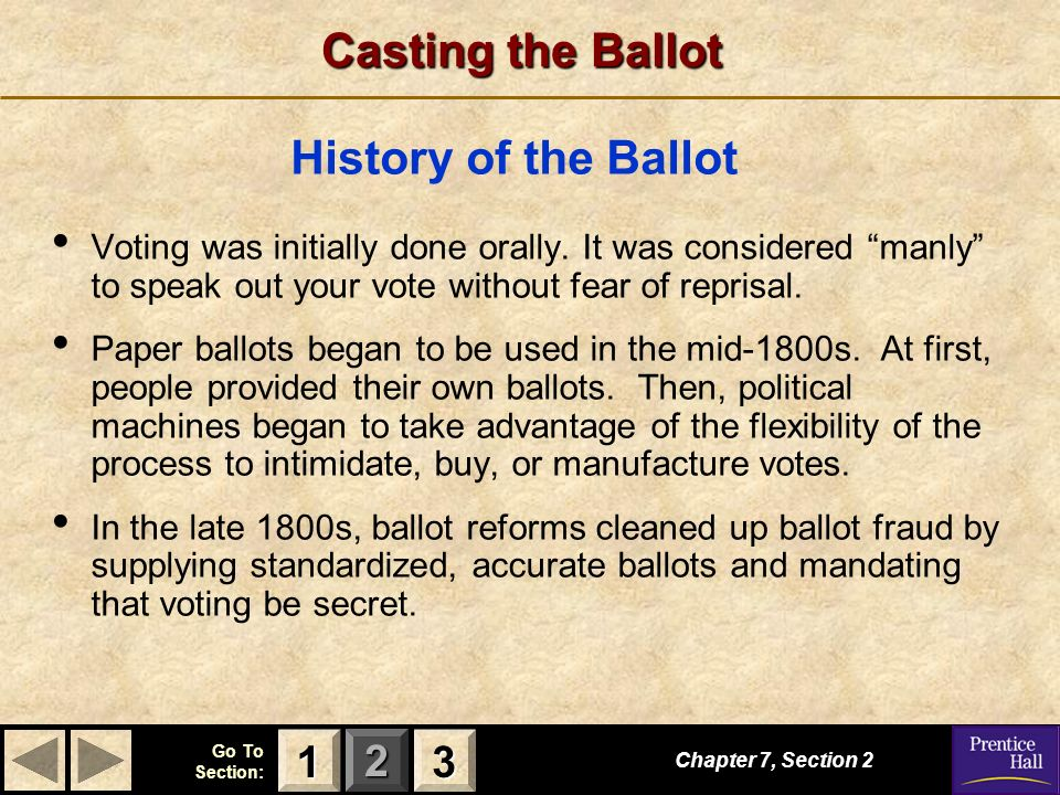 123 Go To Section: Casting the Ballot Voting was initially done orally. It was considered manly to speak out your vote without fear of reprisal. Paper