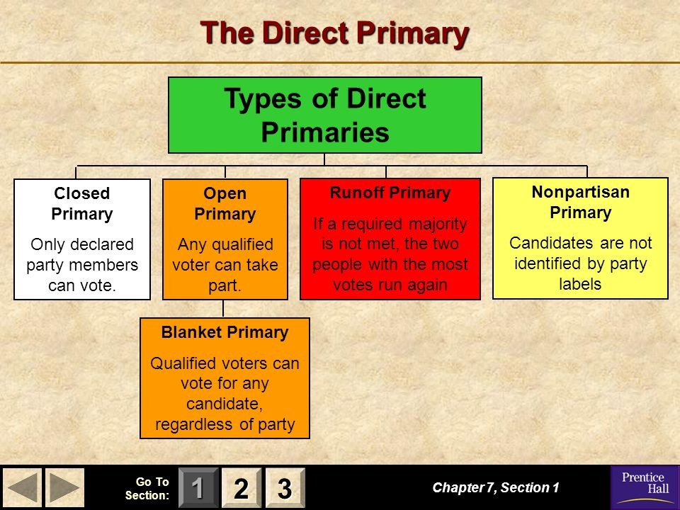 123 Go To Section: Chapter 7, Section 1 2222 3333 The Direct Primary Nonpartisan Primary Candidates are not identified by party labels Runoff Primary