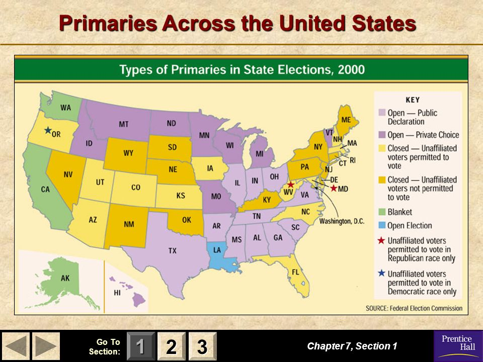 123 Go To Section: Primaries Across the United States Chapter 7, Section 1 2222 3333