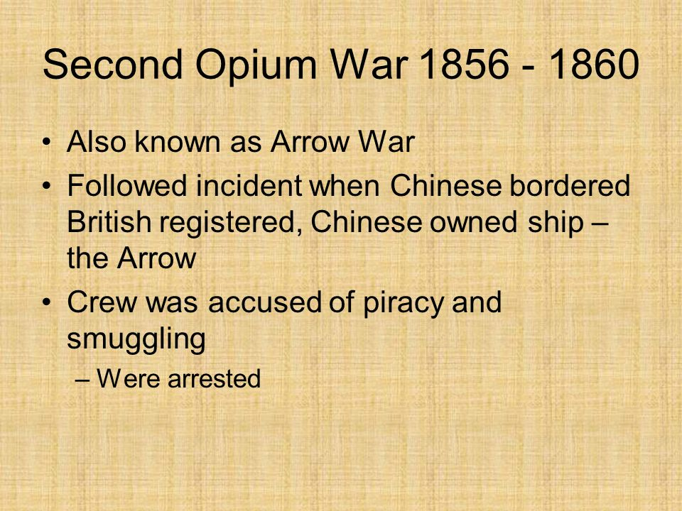 Treaty of Nanjing Unresolved Issues –Status of opium trade with China –Equivalent American treaty forbade opium trade with China –However, both Americ