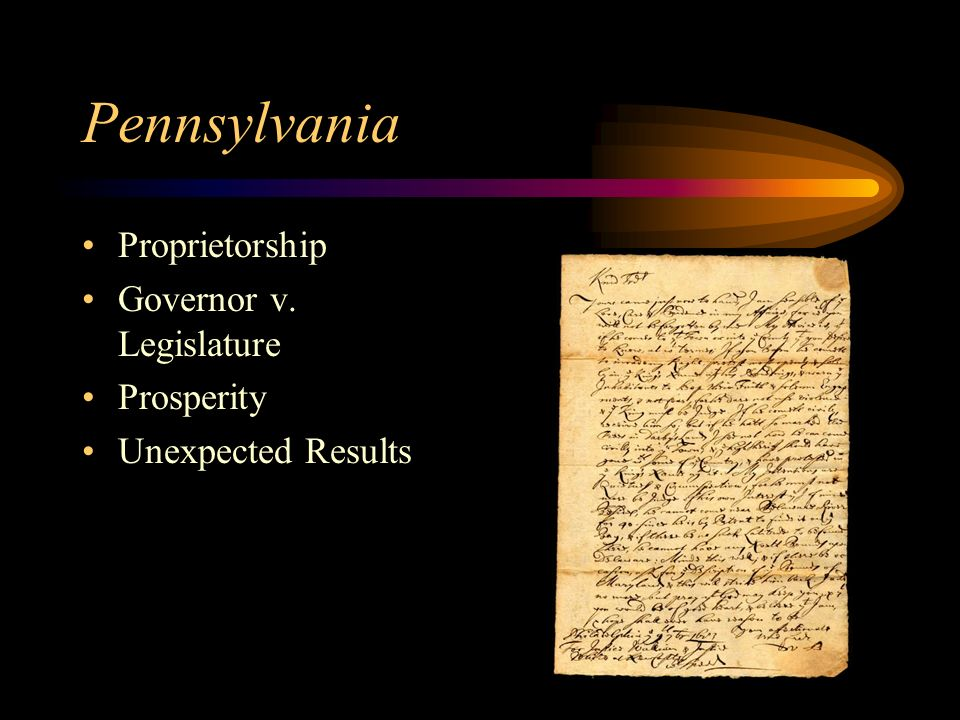 Pennsylvania Proprietorship Governor v. Legislature Prosperity Unexpected Results