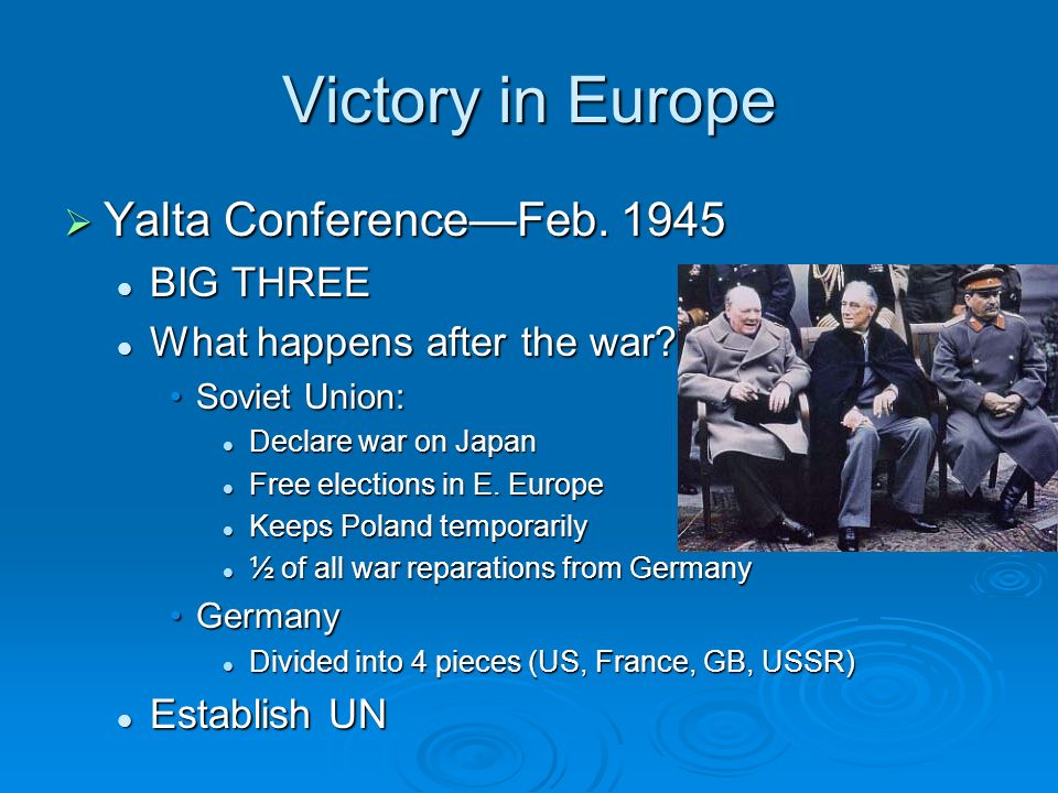 Victory in Europe Yalta ConferenceFeb Yalta ConferenceFeb.