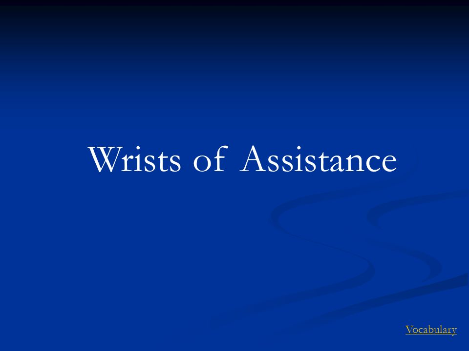 Wrists of Assistance Vocabulary