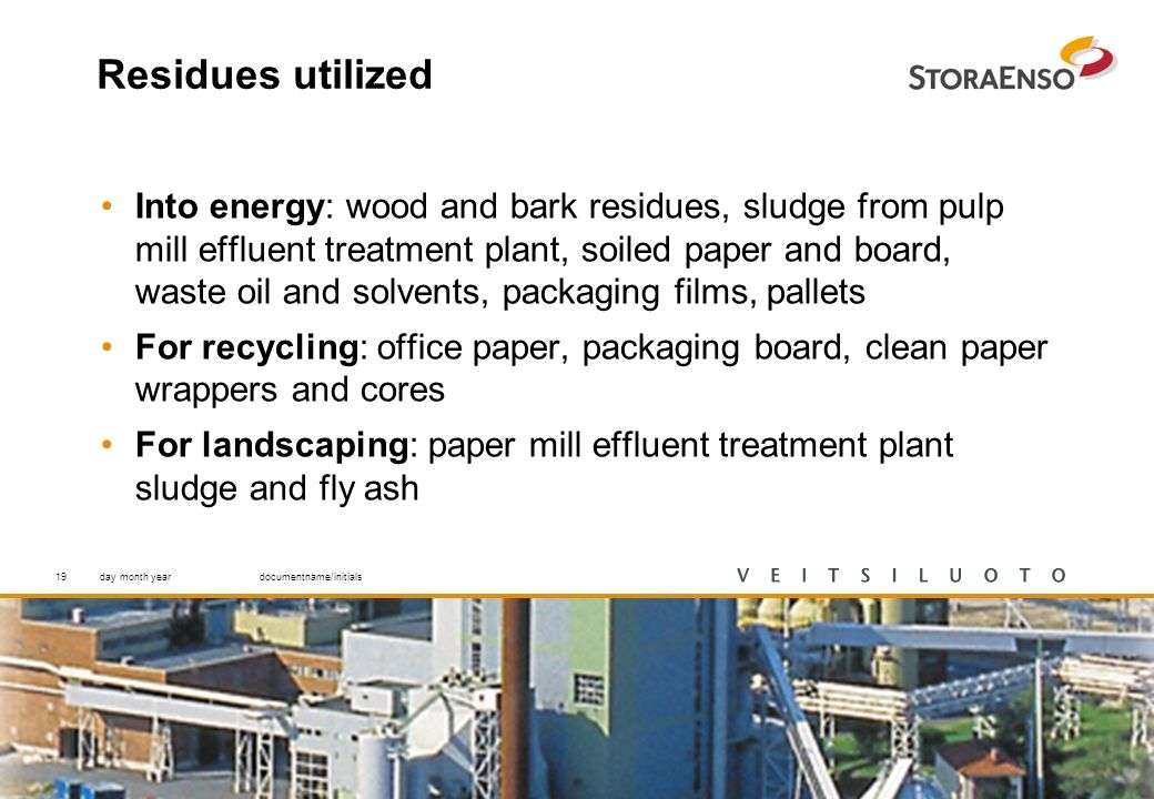 19 Residues utilized Into energy: wood and bark residues, sludge from pulp mill effluent treatment plant, soiled paper and board, waste oil and solvents, packaging films, pallets For recycling: office paper, packaging board, clean paper wrappers and cores For landscaping: paper mill effluent treatment plant sludge and fly ash day month yeardocumentname/initials19
