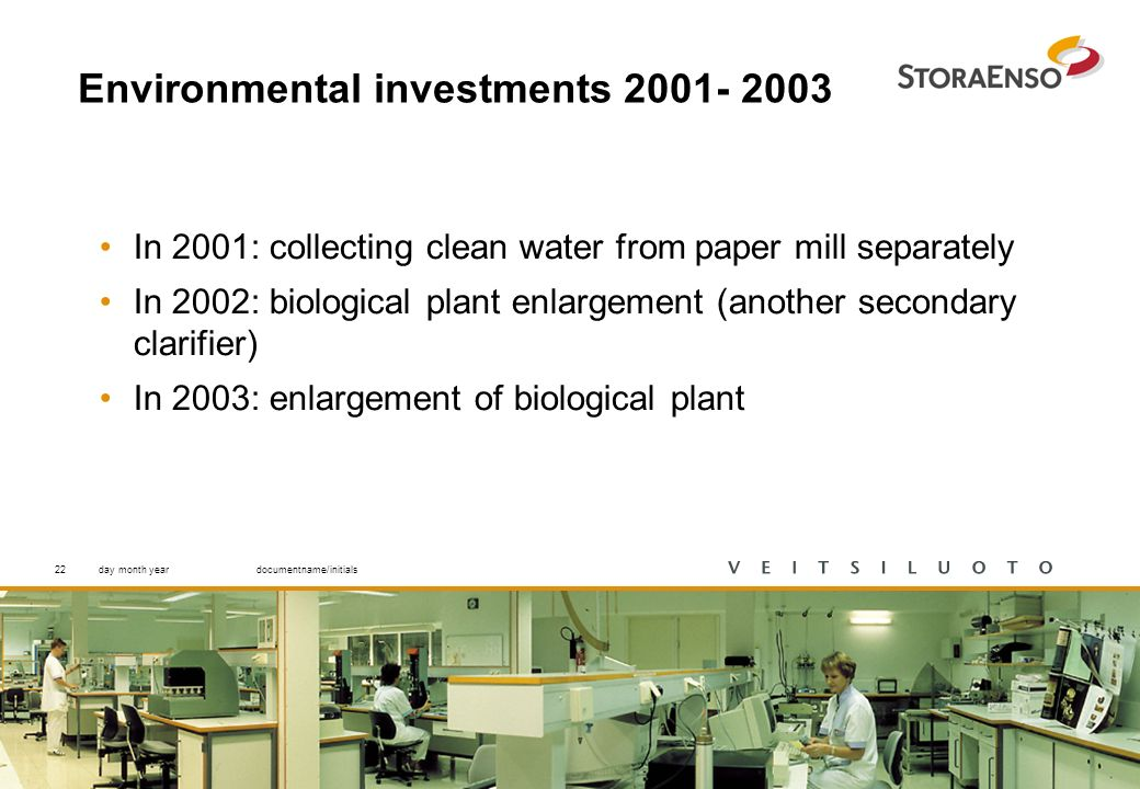 22 Environmental investments 2001- 2003 In 2001: collecting clean water from paper mill separately In 2002: biological plant enlargement (another secondary clarifier) In 2003: enlargement of biological plant day month yeardocumentname/initials22