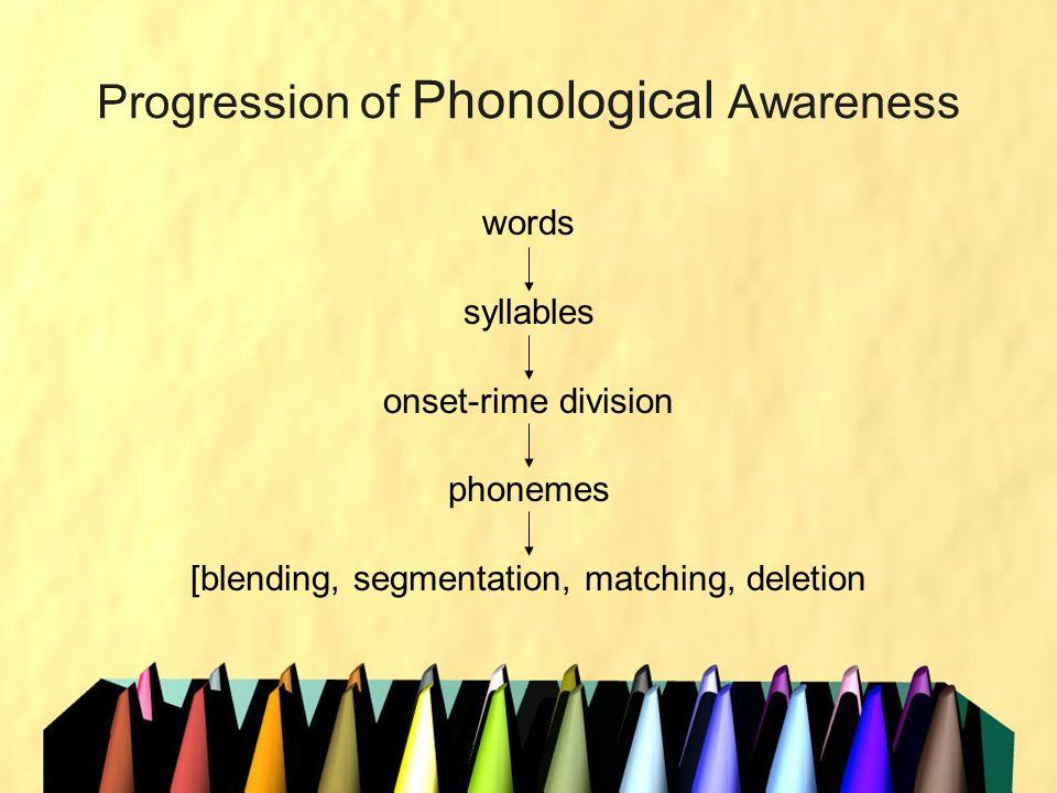 Progression of Phonological Awareness words syllables onset-rime division phonemes [blending, segmentation, matching, deletion